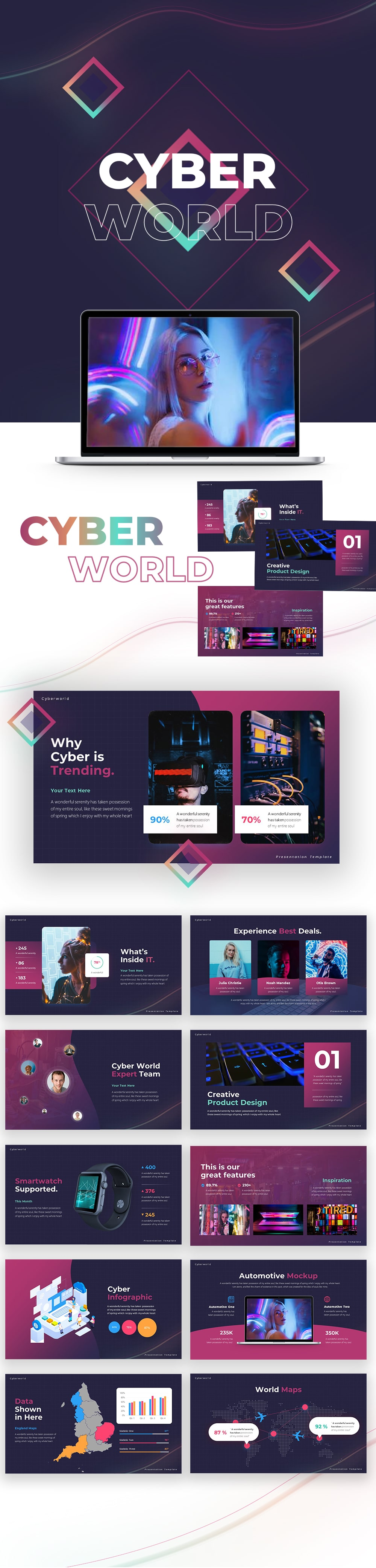 Cyber World PowerPoint Template