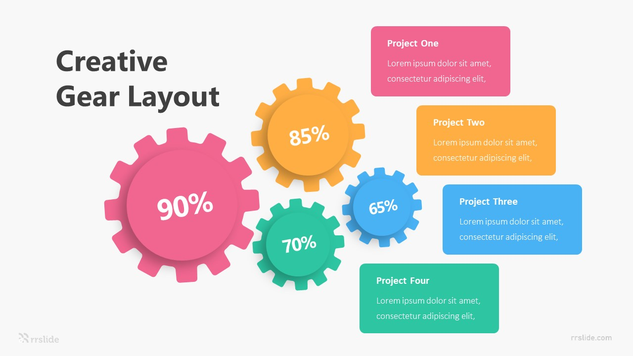 4 Step Creative Gear Infographic Template