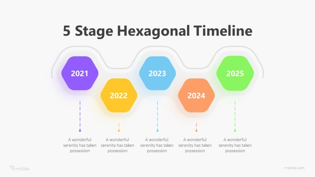 5 Stage Hexagonal Timeline Infographic Template
