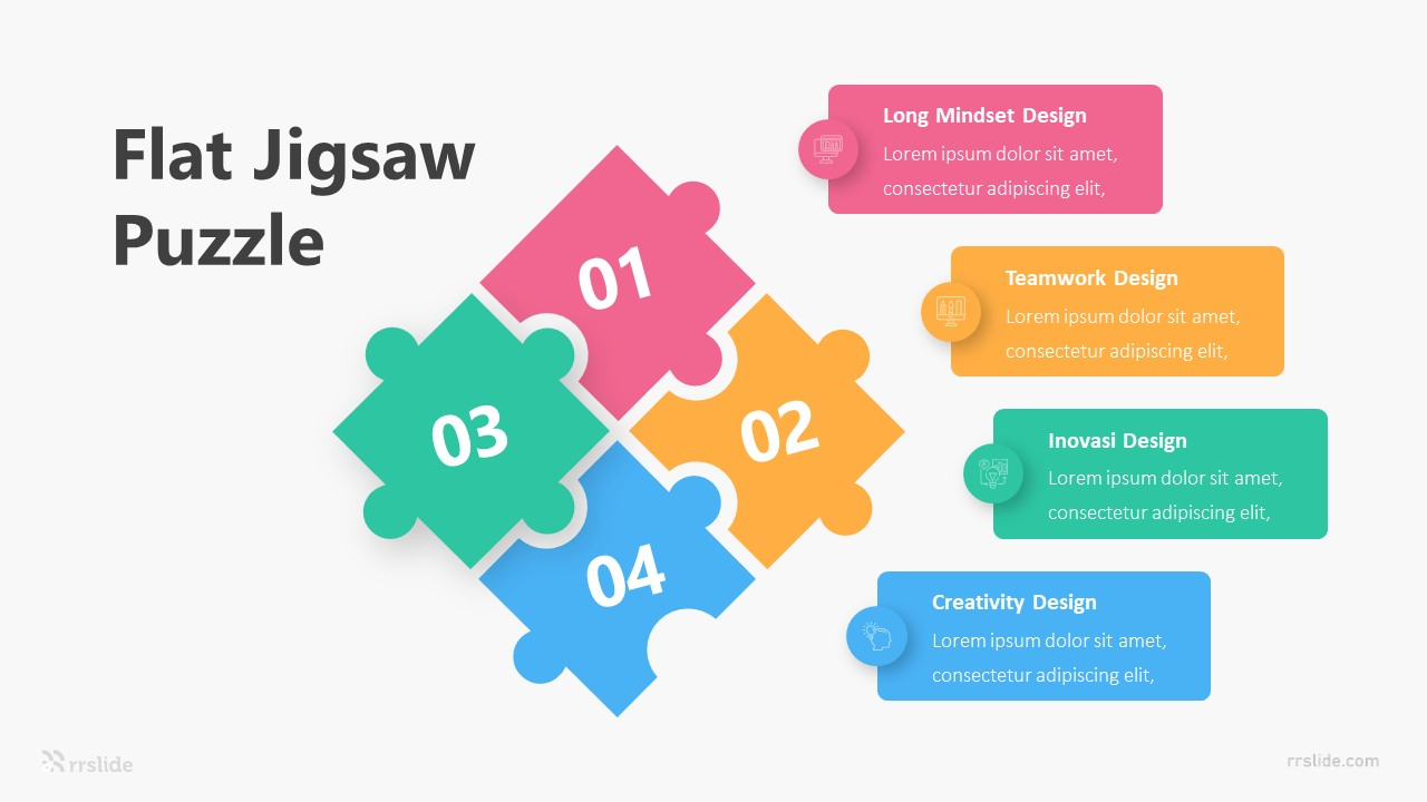 Flat Jigsaw Puzzle Infographic Template